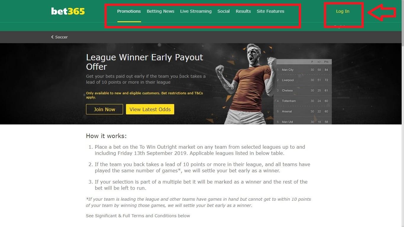 Bet365 am պաշտոնական կայքում հասանելի Live խաղադրույքները